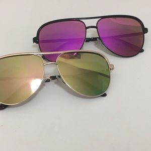 Accessories - Black Sunglasses with Purple and Orange Lenses